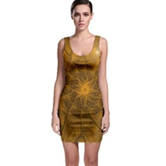 Fractal Flower Floral Gold Pattern Bodycon Dress