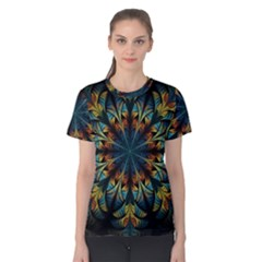 Fractal Flower Fantasy Floral Women s Cotton Tee