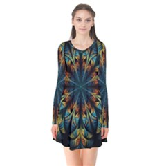 Fractal Flower Fantasy Floral Long Sleeve V-neck Flare Dress by Wegoenart
