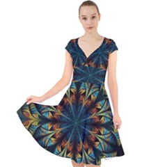 Fractal Flower Fantasy Floral Cap Sleeve Front Wrap Midi Dress by Wegoenart