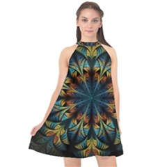 Fractal Flower Fantasy Floral Halter Neckline Chiffon Dress  by Wegoenart