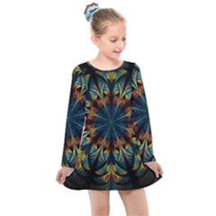 Fractal Flower Fantasy Floral Kids  Long Sleeve Dress by Wegoenart