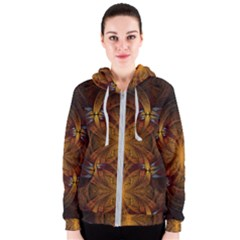 Fractal Art Abstract Pattern Women s Zipper Hoodie by Wegoenart
