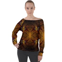 Fractal Art Abstract Pattern Off Shoulder Long Sleeve Velour Top