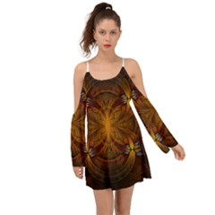 Fractal Art Abstract Pattern Kimono Sleeves Boho Dress by Wegoenart