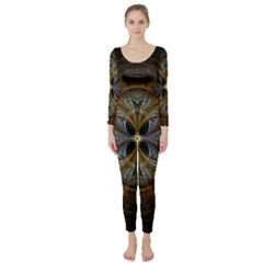 Fractal Art Abstract Pattern Long Sleeve Catsuit by Wegoenart