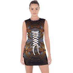Fractal Art Abstract Pattern Lace Up Front Bodycon Dress