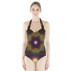 Art Abstract Fractal Pattern Halter Swimsuit