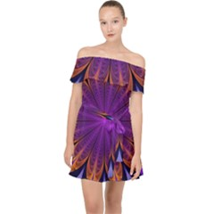 Art Abstract Fractal Pattern Off Shoulder Chiffon Dress by Wegoenart