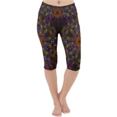 Fractal Abstract Background Pattern Lightweight Velour Cropped Yoga Leggings
