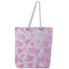 Valentine Background Hearts Bokeh Full Print Rope Handle Tote (large)