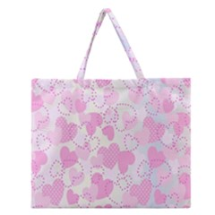 Valentine Background Hearts Bokeh Zipper Large Tote Bag