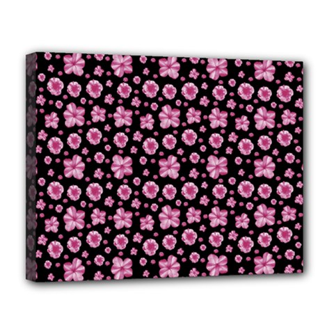 Pink And Black Floral Collage Print Canvas 14  X 11  (stretched) by dflcprintsclothing