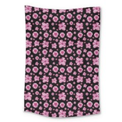 Pink And Black Floral Collage Print Large Tapestry by dflcprintsclothing