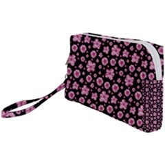 Pink And Black Floral Collage Print Wristlet Pouch Bag (small) by dflcprintsclothing