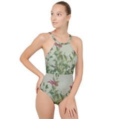 Botanical Vintage Style Motif Artwork 2 High Neck One Piece Swimsuit