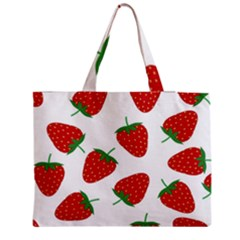Seamless Pattern Fresh Strawberry Zipper Medium Tote Bag by Wegoenart