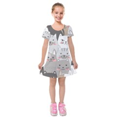 Cute Cats Seamless Pattern Kids  Short Sleeve Velvet Dress by Wegoenart