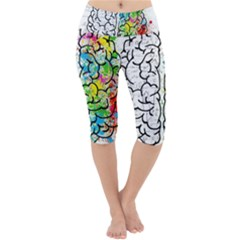 Brain Mind Psychology Idea Drawing Lightweight Velour Cropped Yoga Leggings
