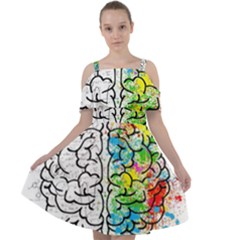 Brain Mind Psychology Idea Drawing Cut Out Shoulders Chiffon Dress
