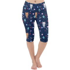 Cute Astronaut Cat With Star Galaxy Elements Seamless Pattern Lightweight Velour Cropped Yoga Leggings