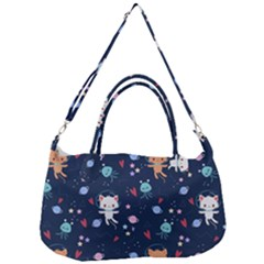 Cute Astronaut Cat With Star Galaxy Elements Seamless Pattern Removal Strap Handbag