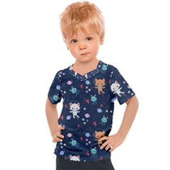 Cute Astronaut Cat With Star Galaxy Elements Seamless Pattern Kids  Sports Tee