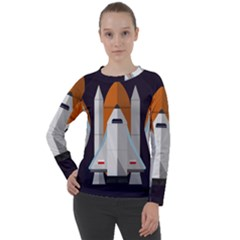 Rocket Space Universe Spaceship Women s Long Sleeve Raglan Tee