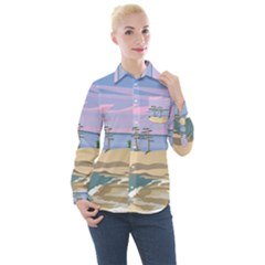 Vacation Island Sunset Sunrise Women s Long Sleeve Pocket Shirt
