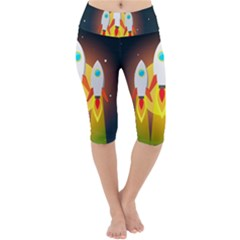 Rocket Take Off Missiles Cosmos Lightweight Velour Cropped Yoga Leggings