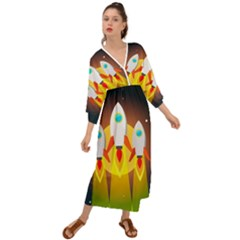 Rocket Take Off Missiles Cosmos Grecian Style  Maxi Dress
