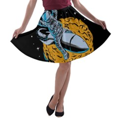 Astronaut Planet Space Science A-line Skater Skirt