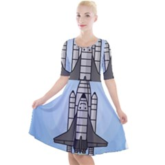 Rocket Shuttle Spaceship Science Quarter Sleeve A-line Dress