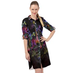 Grunge Paint Splatter Splash Ink Long Sleeve Mini Shirt Dress