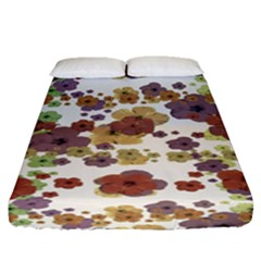Multicolored Floral Collage Print Fitted Sheet (queen Size) by dflcprintsclothing