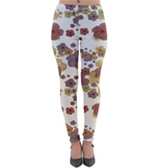 Multicolored Floral Collage Print Lightweight Velour Leggings by dflcprintsclothing