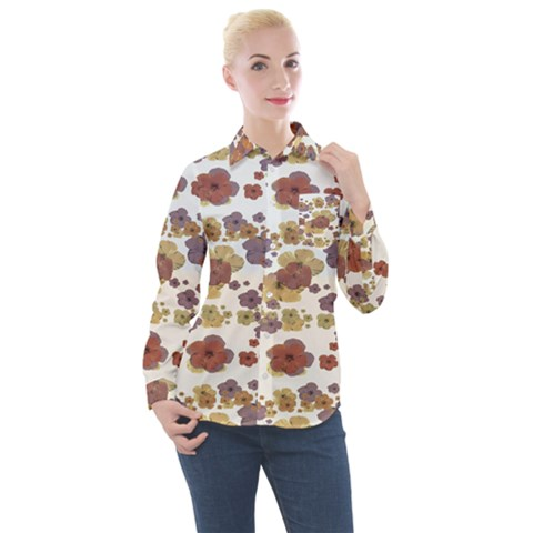 Multicolored Floral Collage Print Women s Long Sleeve Pocket Shirt by dflcprintsclothing