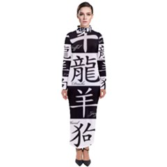 Chinese Signs Of The Zodiac Turtleneck Maxi Dress