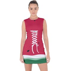 Minimalist Summer Watermelon Wallpaper Lace Up Front Bodycon Dress