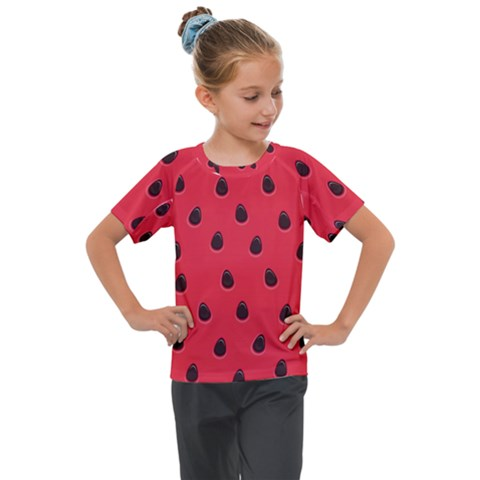 Seamless Watermelon Surface Texture Kids  Mesh Piece Tee by Nexatart