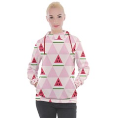 Seamless Pattern Watermelon Slices Geometric Style Women s Hooded Pullover
