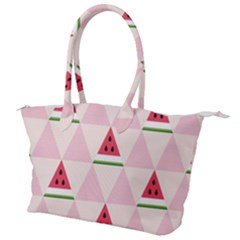Seamless Pattern Watermelon Slices Geometric Style Canvas Shoulder Bag