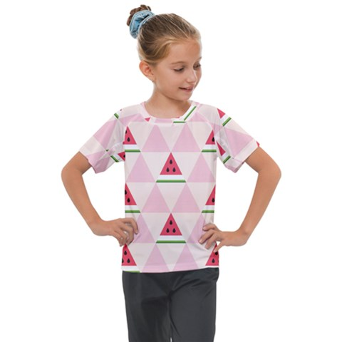 Seamless Pattern Watermelon Slices Geometric Style Kids  Mesh Piece Tee by Nexatart