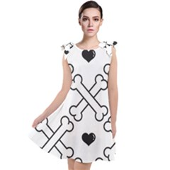 Dog Bone Seamless Pattern Heart Valentine Tie Up Tunic Dress