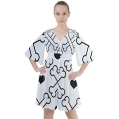 Dog Bone Seamless Pattern Heart Valentine Boho Button Up Dress