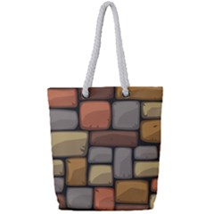 Colorful Brick Wall Texture Full Print Rope Handle Tote (small)