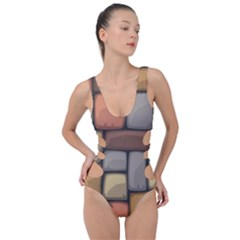 Colorful Brick Wall Texture Side Cut Out Swimsuit by Nexatart