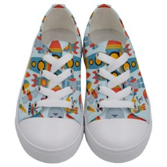 Space Elements Flat Kids  Low Top Canvas Sneakers