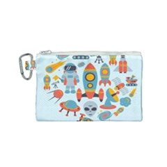 Space Elements Flat Canvas Cosmetic Bag (small) by Nexatart