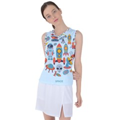 Space Elements Flat Women s Sleeveless Sports Top by Nexatart